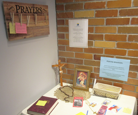 Table in a prayer room
