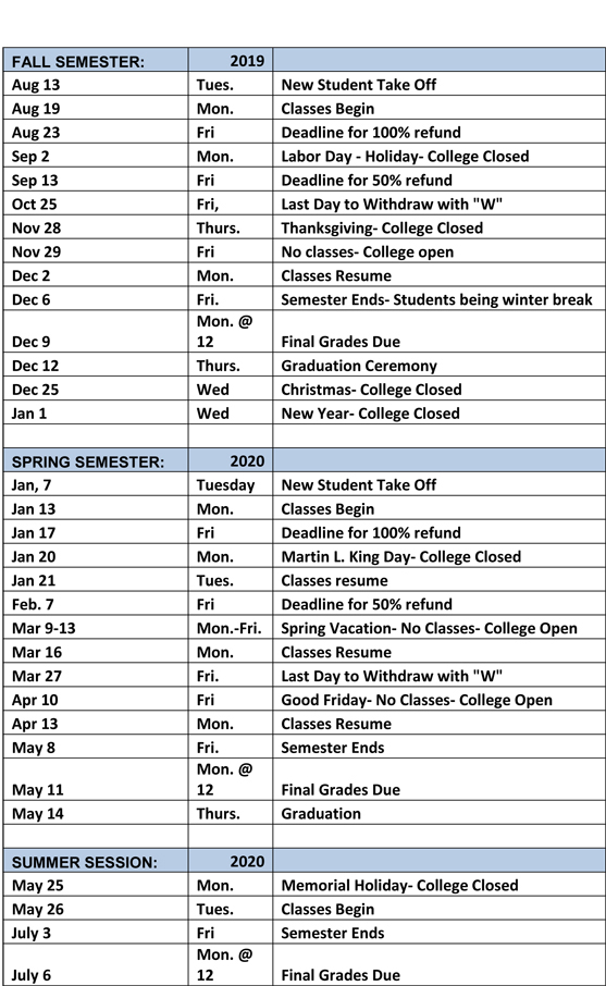 Fall Calendar 2020 Academic Calendar   Good Samaritan